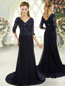 Navy Blue Prom Dresses Prom and Party and Military Ball with Beading and Lace and Appliques V-neck Half Sleeves Sweep Train Zipper