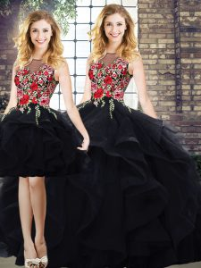 Three Pieces 15 Quinceanera Dress Black Bateau Tulle Sleeveless Floor Length Lace Up