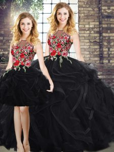 High Quality Black Ball Gowns Scoop Sleeveless Floor Length Zipper Embroidery and Ruffles Sweet 16 Dress