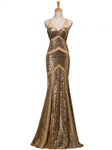 Dazzling Brown Evening Wear Prom and Party with Ruching V-neck Sleeveless Sweep Train Backless