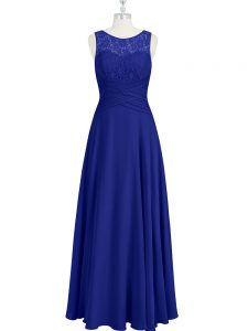 Hot Sale Royal Blue Zipper Prom Dresses Lace and Pleated Sleeveless Floor Length