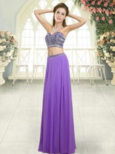 Lavender Two Pieces Sweetheart Sleeveless Chiffon Floor Length Backless Beading Prom Dress