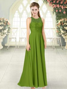 Olive Green Empire Chiffon Scoop Sleeveless Lace Floor Length Backless Prom Dress