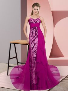 Superior Chiffon Spaghetti Straps Sleeveless Sweep Train Zipper Beading and Lace Prom Party Dress in Fuchsia