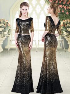 High Class Gold Half Sleeves Sequined Zipper Prom Dresses for Prom and Party and Military Ball