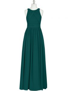 Decent Floor Length Dark Green Prom Evening Gown Chiffon Sleeveless Ruching