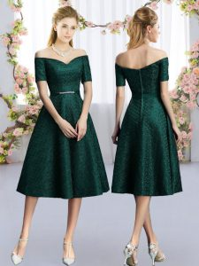 Cheap Short Sleeves Lace Tea Length Damas Dress in Dark Green with Belt