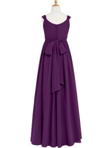 Sleeveless Zipper Floor Length Ruching Formal Evening Gowns