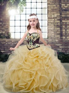 Ball Gowns Kids Pageant Dress Champagne Straps Tulle Sleeveless Floor Length Lace Up