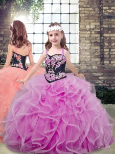 Tulle Sleeveless Floor Length Little Girls Pageant Dress and Embroidery and Ruffles