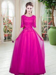 Artistic Half Sleeves Tulle Floor Length Lace Up in Fuchsia with Lace