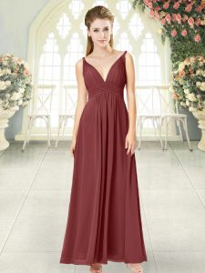 Clearance Wine Red V-neck Backless Ruching Prom Evening Gown Sleeveless