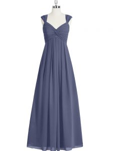Noble Blue A-line Chiffon Straps Sleeveless Ruching Floor Length Zipper Dress for Prom