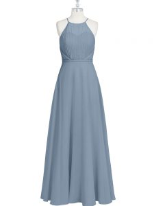 Chiffon Sleeveless Floor Length Prom Gown and Ruching and Pleated
