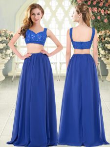 Adorable Floor Length Royal Blue Evening Dress Chiffon Sleeveless Beading and Lace