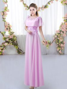 Floor Length Lilac Quinceanera Court of Honor Dress Chiffon Short Sleeves Appliques