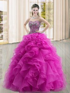 Spectacular Fuchsia Sweetheart Lace Up Beading and Ruffles Quince Ball Gowns Sleeveless