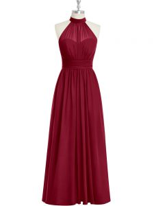 Sweet Burgundy A-line Ruching Prom Dresses Side Zipper Chiffon Sleeveless Floor Length