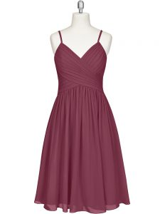 Custom Fit Burgundy Sleeveless Knee Length Pleated Zipper Prom Gown