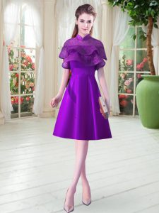 Luxurious Eggplant Purple A-line Ruffled Layers Prom Dresses Lace Up Satin Cap Sleeves Knee Length