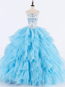 Top Selling Baby Blue Sweetheart Neckline Beading and Ruffles Quinceanera Dresses Sleeveless Lace Up