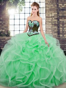 Fashionable Apple Green Quinceanera Gowns Sweetheart Sleeveless Sweep Train Lace Up