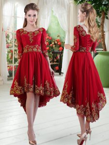 New Style High Low Wine Red Prom Dresses Scoop Long Sleeves Lace Up
