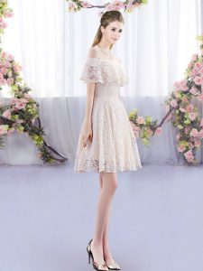 1e822399f2b Gorgeous Short Sleeves Mini Length Lace Lace Up Dama Dress for Quinceanera  with Champagne