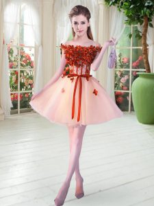 Dramatic Peach A-line Beading and Appliques Prom Gown Lace Up Tulle Sleeveless Mini Length