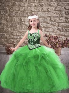 Green Lace Up Straps Embroidery and Ruffles Pageant Gowns For Girls Tulle Sleeveless