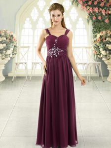 Romantic Burgundy Empire Beading and Ruching Dress for Prom Lace Up Chiffon Sleeveless Floor Length