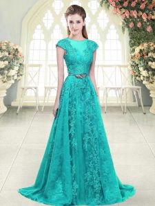 Custom Fit Aqua Blue and Green Zipper Evening Outfits Beading and Lace Cap Sleeves Sweep Train