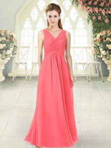 Sexy Watermelon Red V-neck Zipper Ruching Prom Evening Gown Sleeveless