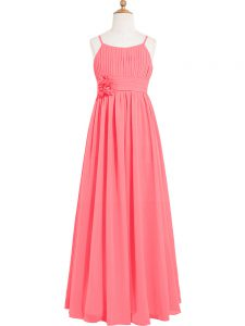 Scoop Sleeveless Chiffon Prom Dress Pleated and Hand Made Flower Zipper