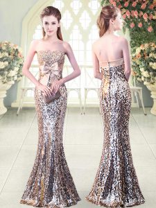 Silver Sequined Zipper Strapless Sleeveless Floor Length Evening Dress Beading and Sequins and Bowknot