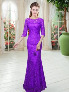 Colorful Purple Half Sleeves Floor Length Lace Zipper Dress for Prom