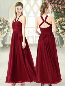 Ruching Prom Dress Burgundy Backless Sleeveless Floor Length