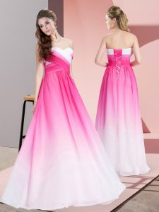 Sleeveless Lace Up Floor Length Ruching Formal Evening Gowns