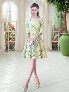 Glamorous Yellow Green Scoop Lace Up Ruching Prom Party Dress Half Sleeves