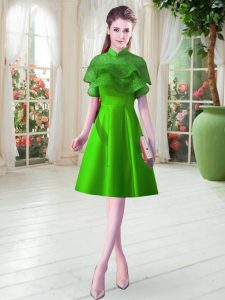 A-line Evening Dress Green High-neck Satin Cap Sleeves Knee Length Lace Up
