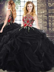 Eye-catching Sleeveless Zipper Embroidery and Ruffles Sweet 16 Quinceanera Dress