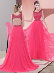 Coral Red Sleeveless Sweep Train Beading Prom Dresses