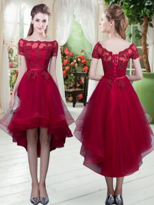 Comfortable Wine Red Homecoming Dress Prom and Party with Appliques Off The Shoulder Short Sleeves Lace Up