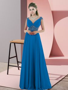 Backless Evening Party Dresses Blue for Prom and Party with Beading Sweep Train