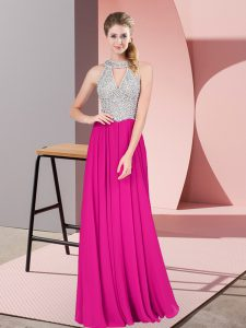 Stunning Fuchsia Chiffon Zipper Prom Evening Gown Sleeveless Floor Length Beading