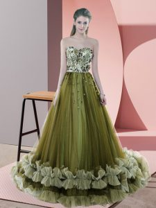 Beading and Appliques Prom Gown Olive Green Lace Up Sleeveless Sweep Train