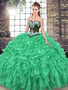 Best Selling Organza Sweetheart Sleeveless Sweep Train Lace Up Embroidery and Ruffles 15th Birthday Dress in Green