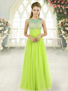 Discount Scoop Sleeveless Prom Evening Gown Floor Length Beading Yellow Green Tulle