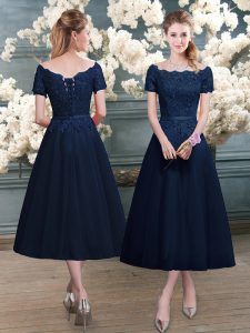 Beautiful Navy Blue Evening Dress Prom and Party with Lace Scalloped Short Sleeves Zipper