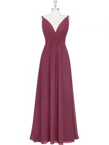 Free and Easy V-neck Sleeveless Prom Evening Gown Floor Length Ruching and Pleated Burgundy Chiffon
